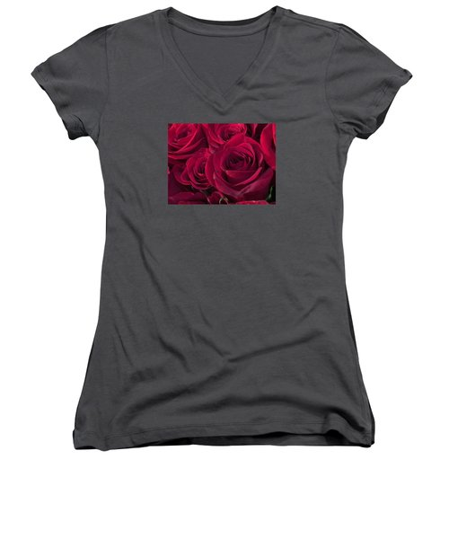 Red Red Roses Women's V-Neck T-Shirt (Junior Cut) by Kay Gilley