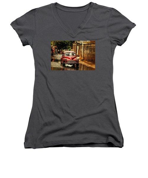 Red Retromobile. Morris Minor Women's V-Neck