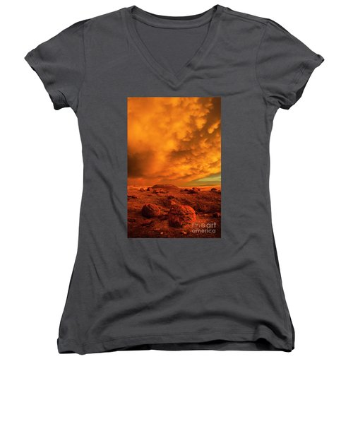 Red Rock Coulee Sunset 2 Women's V-Neck (Athletic Fit)
