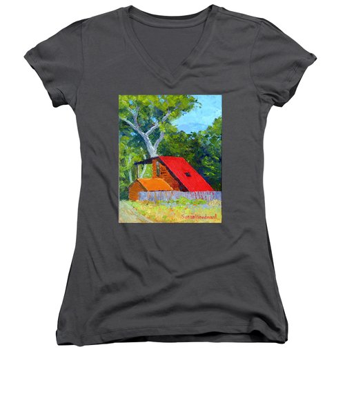Red Roof Women's V-Neck (Athletic Fit)