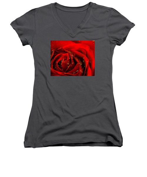 Red Rose 2 Women's V-Neck