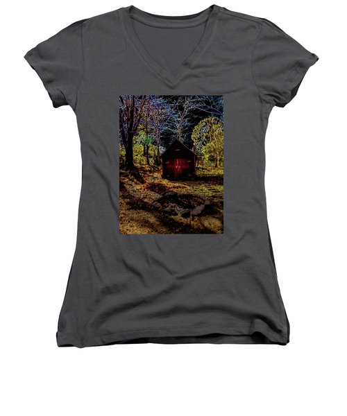 Women's V-Neck T-Shirt (Junior Cut) featuring the photograph Red Shed by Randy Sylvia