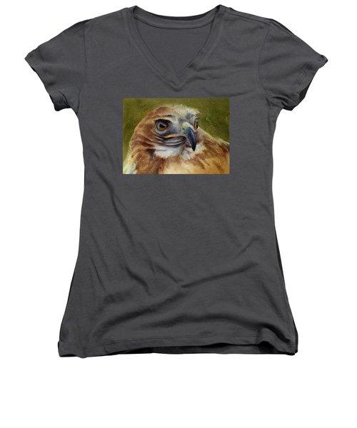 Red-shouldered Hawk Women's V-Neck T-Shirt