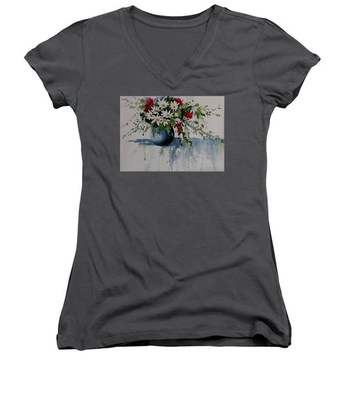 Red White And Blue Bouquet Women's V-Neck (Athletic Fit)