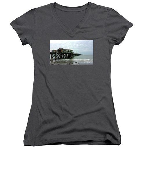 Redington Beach, Florida Fishing Pier Women's V-Neck T-Shirt (Junior Cut) by Scott D Van Osdol