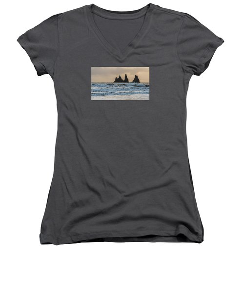 Women's V-Neck featuring the photograph Reynisdrangar by James Billings