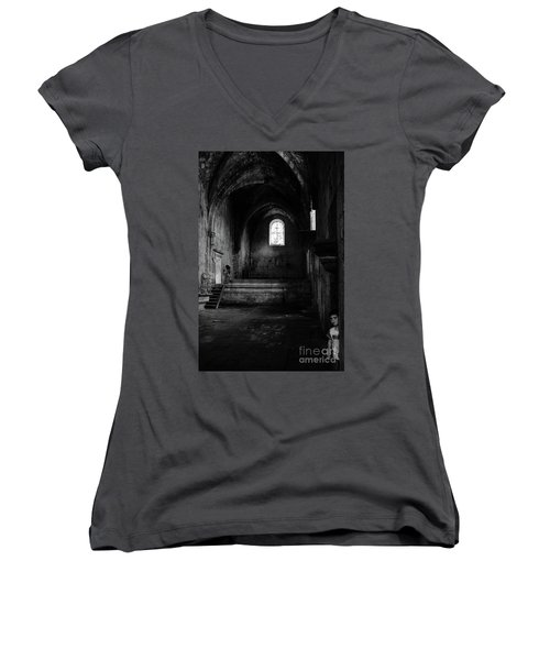 Women's V-Neck T-Shirt (Junior Cut) featuring the photograph Rioseco Abandoned Abbey Nave Bw by RicardMN Photography