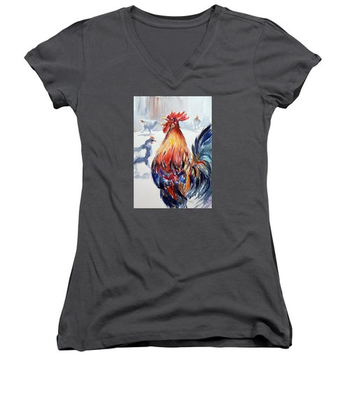 Rooster Women's V-Neck T-Shirt (Junior Cut)