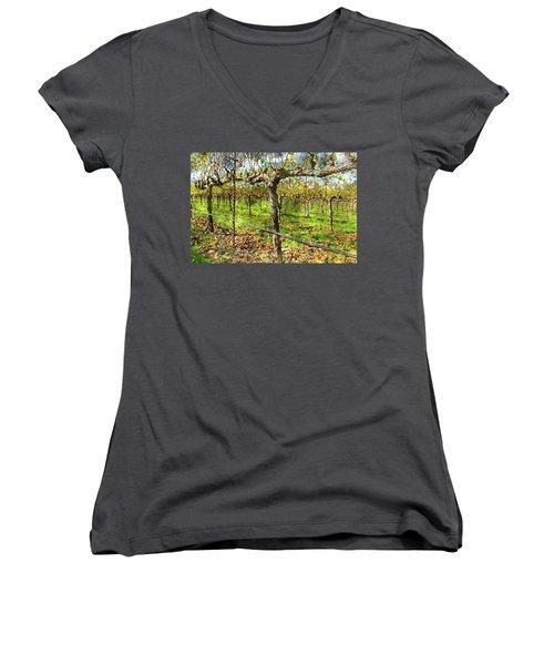 Rows Of Grapevines In Napa Valley Caliofnia Women's V-Neck