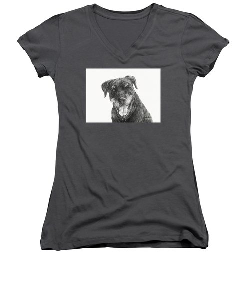 Women's V-Neck T-Shirt (Junior Cut) featuring the drawing Ruby  by Meagan  Visser