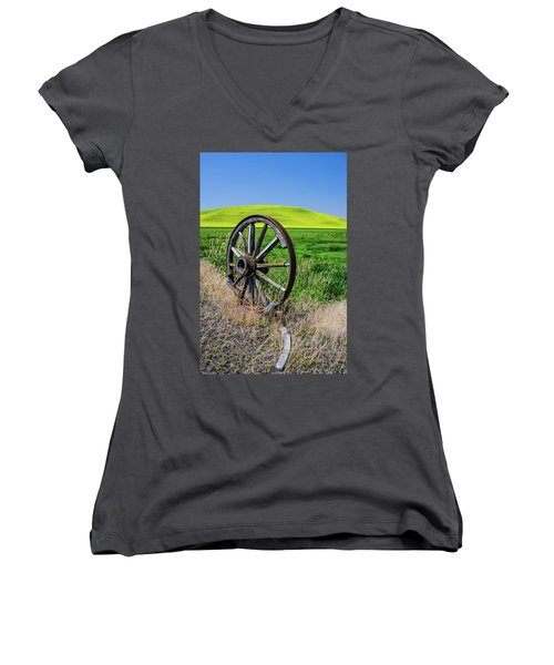 Rustic Wagon Wheel In The Palouse Women's V-Neck T-Shirt (Junior Cut) by James Hammond