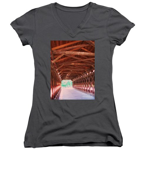 Sachs Bridge Women's V-Neck T-Shirt (Junior Cut) by Eric  Schiabor