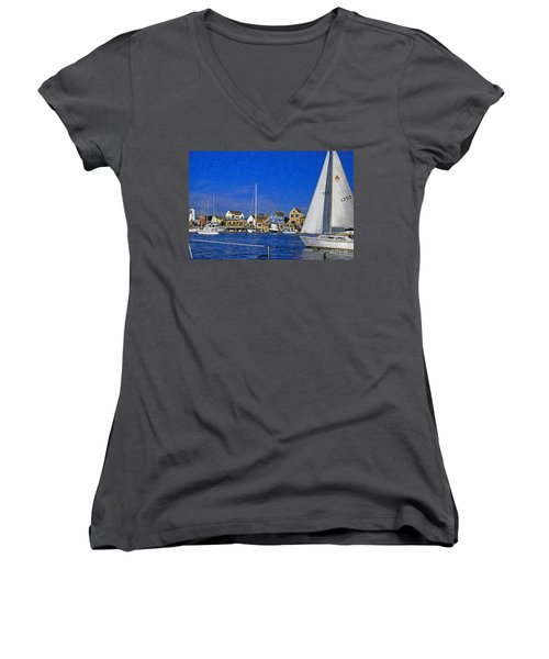 Women's V-Neck T-Shirt (Junior Cut) featuring the photograph Sailing Marina Del Rey Fisherman's Village by David Zanzinger