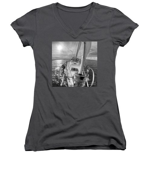 Sailing Yacht Fate Beneteau 49 Black And White Women's V-Neck