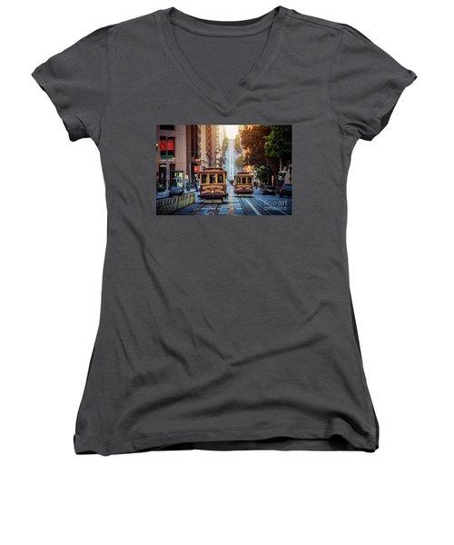 San Francisco Cable Cars Women's V-Neck T-Shirt (Junior Cut) by JR Photography