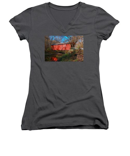 Sandy /creek Covered Bridge, Missouri Women's V-Neck T-Shirt