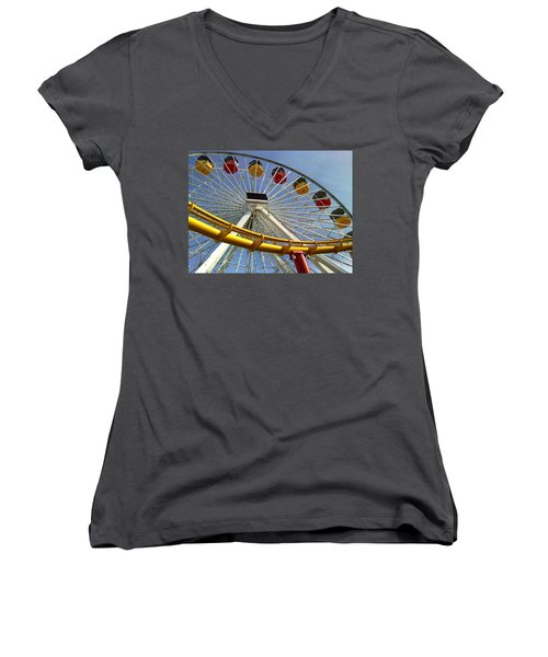 Santa Monica Pier Amusement Park Women's V-Neck