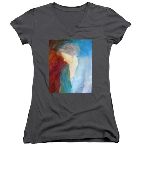 Sarah's Blue Suit Women's V-Neck T-Shirt