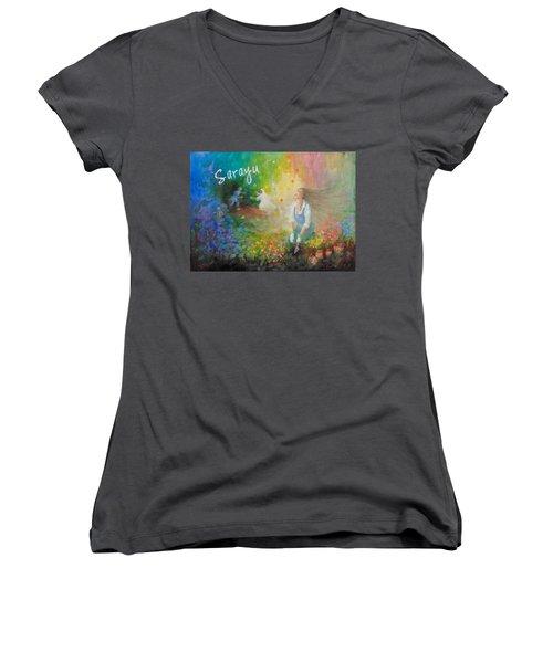 Sarayu Women's V-Neck T-Shirt (Junior Cut) by Janet McGrath