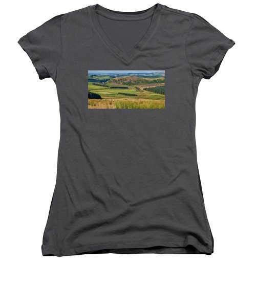 Scotland View From The English Borders Women's V-Neck T-Shirt (Junior Cut) by Jeremy Lavender Photography