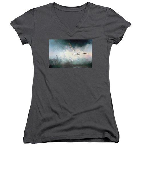 Seagull In Flight Women's V-Neck T-Shirt (Junior Cut) by Sennie Pierson
