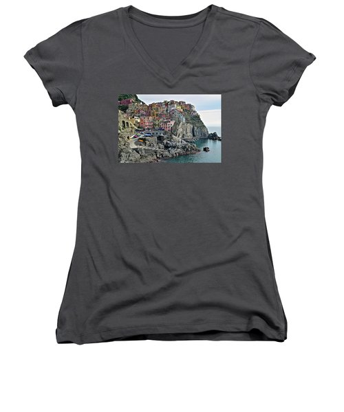 Women's V-Neck T-Shirt (Junior Cut) featuring the photograph Seaside Village by Frozen in Time Fine Art Photography