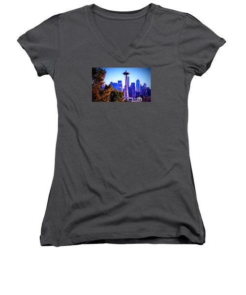 Seattle Afternoon Women's V-Neck T-Shirt (Junior Cut) by Martin Cline