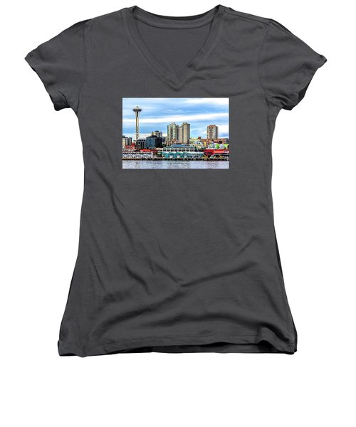 Seattle Skyline Hdr Women's V-Neck