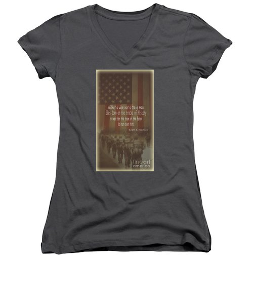 Women's V-Neck T-Shirt (Junior Cut) featuring the photograph Serving Our Country by Debby Pueschel