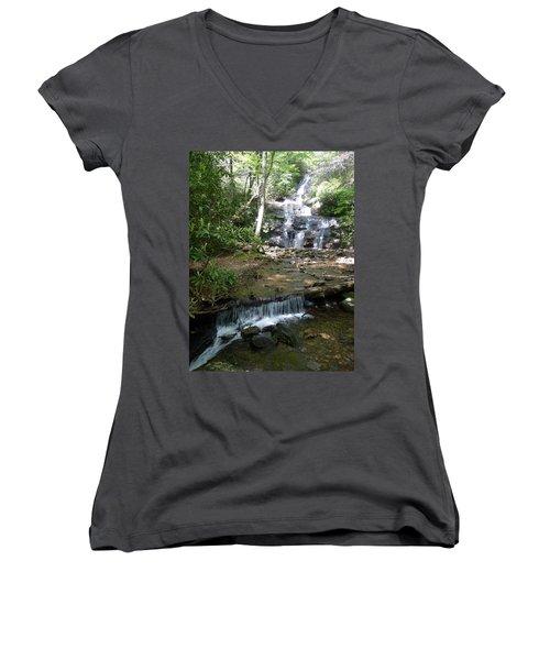 Set Rock Creek Falls Women's V-Neck T-Shirt (Junior Cut) by Joel Deutsch