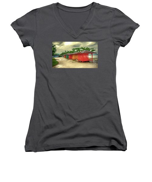 Women's V-Neck T-Shirt (Junior Cut) featuring the photograph Shacks by Charuhas Images