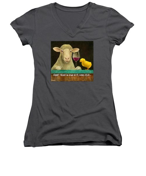 Sheep Faced On Wine With Some Chick... Women's V-Neck