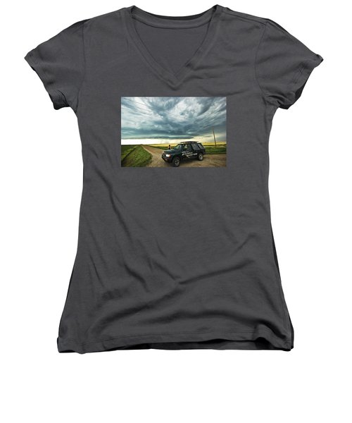 Women's V-Neck T-Shirt (Junior Cut) featuring the photograph Shelf Cloud Near Vibank Sk. by Ryan Crouse