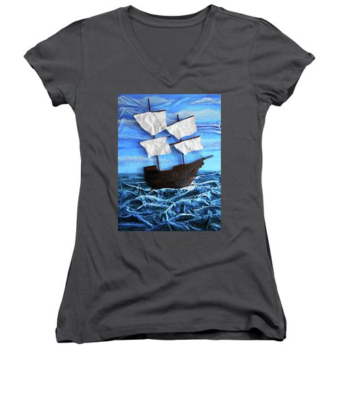 Women's V-Neck T-Shirt (Junior Cut) featuring the mixed media Ship by Angela Stout