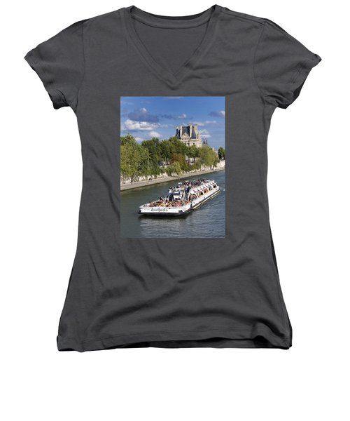 Sightseeing Boat On River Seine To Louvre Museum. Paris Women's V-Neck (Athletic Fit)