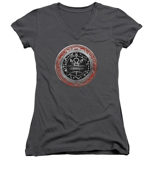 Silver Seal Of Solomon - Lesser Key Of Solomon On Red Velvet  Women's V-Neck T-Shirt