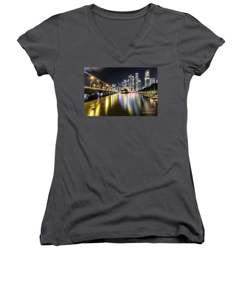 Singapore River At Night With Financial District In Singapore Women's V-Neck