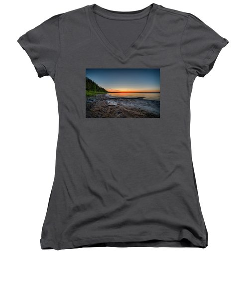 Women's V-Neck T-Shirt (Junior Cut) featuring the photograph Skeleton Lake Beach At Sunset by Darcy Michaelchuk