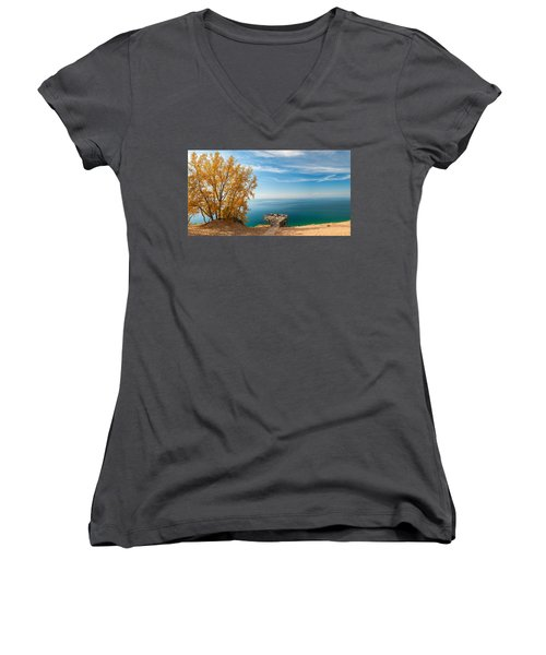 Women's V-Neck T-Shirt (Junior Cut) featuring the photograph Sleeping Bear Overlook by Larry Carr