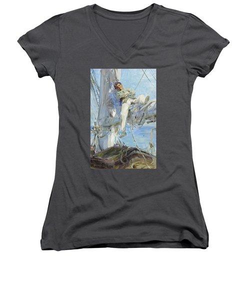 Sleeping Sailor Women's V-Neck T-Shirt