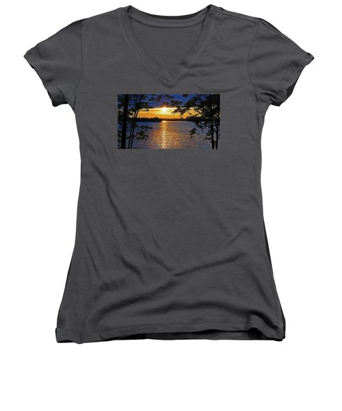 Smith Mountain Lake Summer Sunet Women's V-Neck