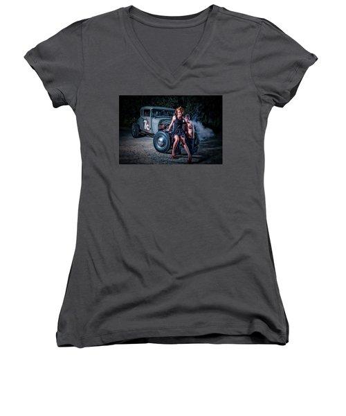 Smoke Women's V-Neck T-Shirt (Junior Cut) by Jerry Golab