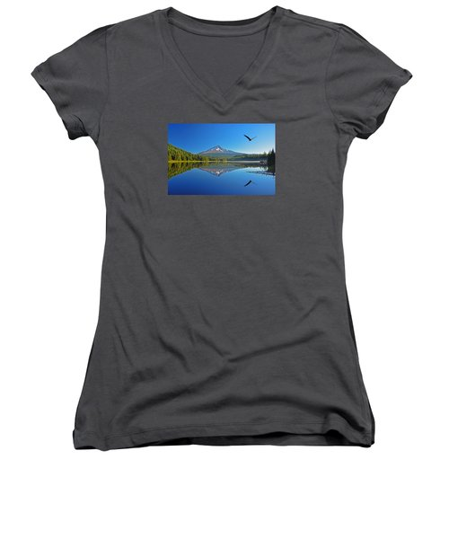 Soaring Bald Eagle Women's V-Neck T-Shirt (Junior Cut) by Jack Moskovita