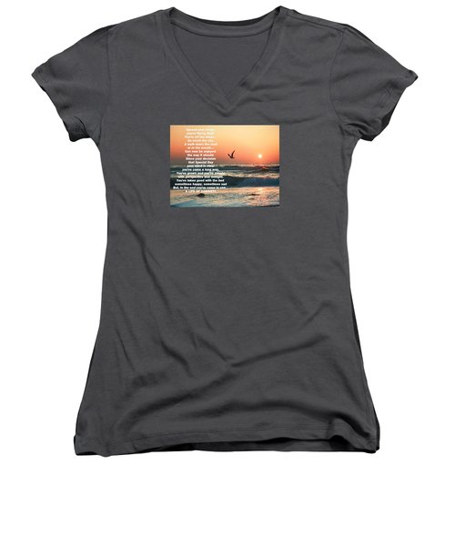 Spread Your Wings Women's V-Neck T-Shirt (Junior Cut) by Belinda Lee