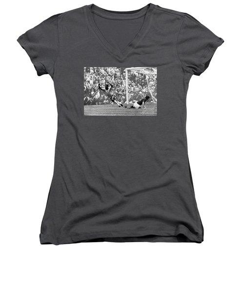 Soccer: World Cup, 1970 Women's V-Neck T-Shirt (Junior Cut) by Granger