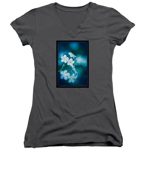 Women's V-Neck T-Shirt featuring the photograph Soft Blue by Michaela Preston