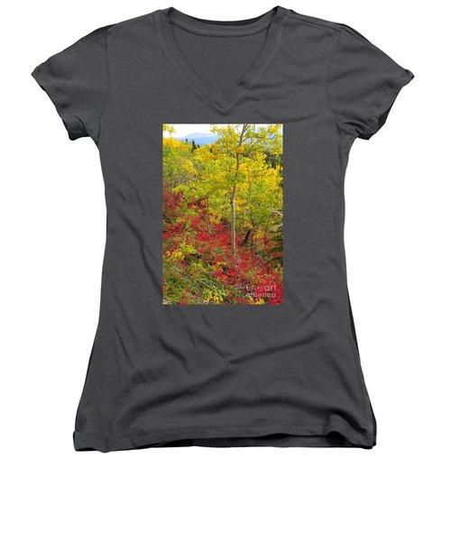 Splash Of Autumn Women's V-Neck T-Shirt (Junior Cut)