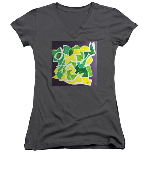 Women's V-Neck T-Shirt (Junior Cut) featuring the painting Spring by Hang Ho