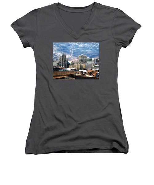 Stamford Cityscape Women's V-Neck (Athletic Fit)