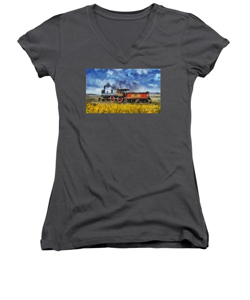 Women's V-Neck T-Shirt (Junior Cut) featuring the photograph Steam Locomotive by Ian Mitchell